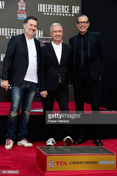 Producer Harald Kloser director Roland Emmerich actor Jeff Goldblum attend the hand and footprint ceremony for 20th Century Fox's Independence Day...