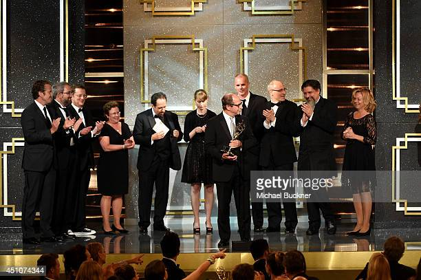 Producer Harry Friedman and co-producers accept Outstanding Game/Audience Participation Show for 'Jeopardy!' onstage during The 41st Annual Daytime...
