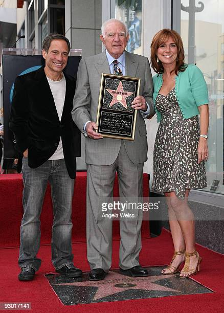 TV producer Harvey Levin Judge Joseph A Wapner and Judge Marilyn Milian pose as Judge Joseph A Wapner is honored with a star on the Hollywood Walk of...