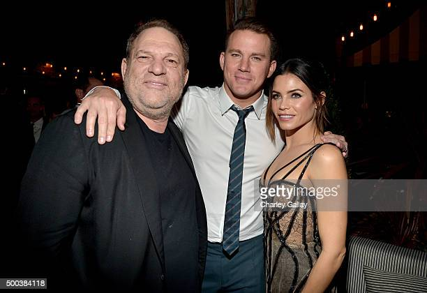 Producer Harvey Weinstein actors Channing Tatum and Jenna Dewan attend the world premiere of 'The Hateful Eight' presented by The Weinstein Company...