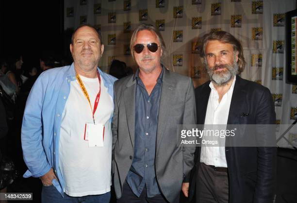 Producer Harvey Weinstein actors Don Johnson and Christoph Waltz speak at the 'Django Unchained' panel during ComicCon International 2012 at San...