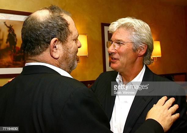Producer Harvey Weinstein and actor Richard Gere attend a dinner before the New York Film Festival screening of I'm Not There at Gabriel's Restaurant...