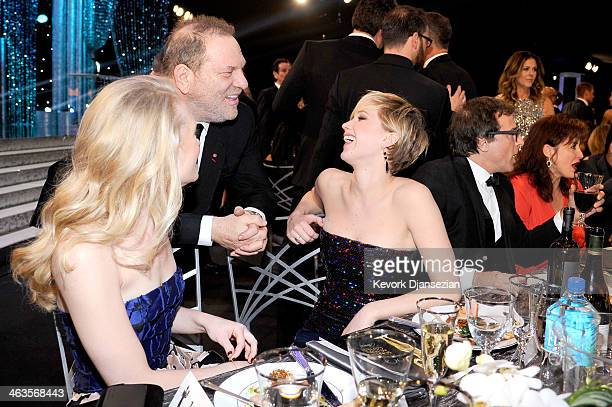 Producer Harvey Weinstein and actress Jennifer Lawrence in the audience during the 20th Annual Screen Actors Guild Awards at The Shrine Auditorium on...
