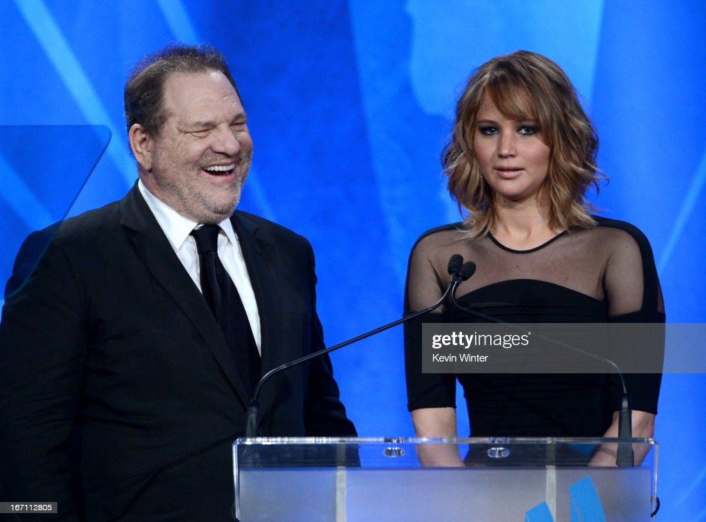 Producer Harvey Weinstein (L) and actress Jennifer Lawrence speak onstage during the 24th Annual GLAAD Media Awards at JW Marriott Los Angeles at L.A. LIVE on April 20, 2013 in Los Angeles, California.