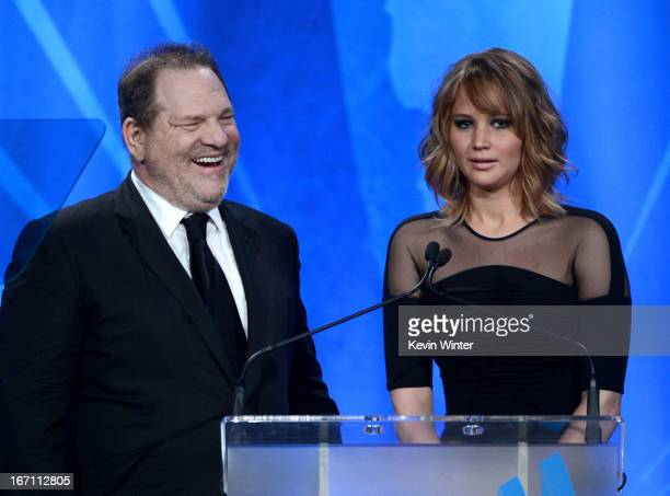 Producer Harvey Weinstein and actress Jennifer Lawrence speak onstage during the 24th Annual GLAAD Media Awards at JW Marriott Los Angeles at LA LIVE...