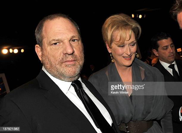 Producer Harvey Weinstein and actress Meryl Streep attend the 18th Annual Screen Actors Guild Awards at The Shrine Auditorium on January 29 2012 in...