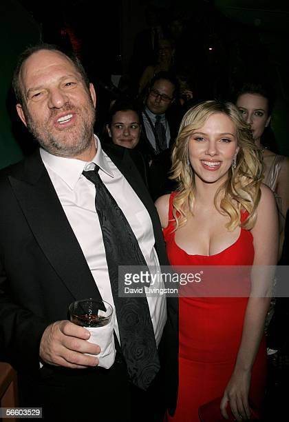 Producer Harvey Weinstein and actress Scarlett Johansson attend the Weinstein Co Golden Globe after party held at Trader Vic's on January 16 2006 in...
