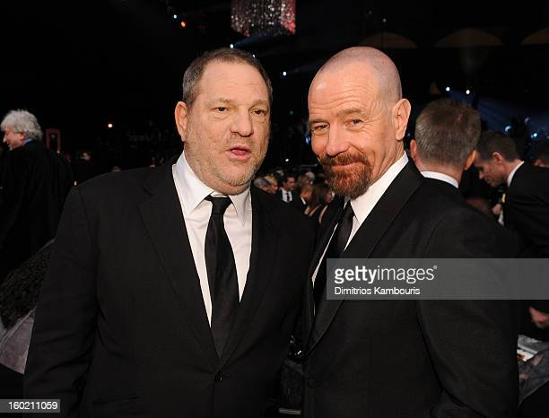 Producer Harvey Weinstein and Bryan Cranston attend the 19th Annual Screen Actors Guild Awards at The Shrine Auditorium on January 27 2013 in Los...