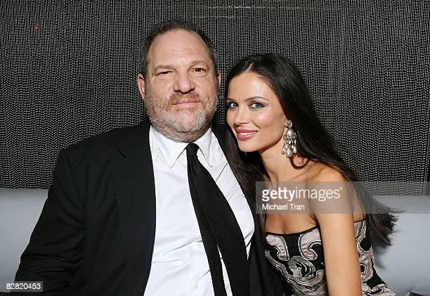 Producer Harvey Weinstein and clothing designer Georgina Chapman of Marchesa attend the OK Magazine and Gen Art party at Arena on September 10 2008...