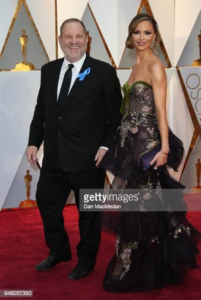 Producer Harvey Weinstein and designer Georgina Chapman arrive at the 89th Annual Academy Awards at Hollywood Highland Center on February 26 2017 in...