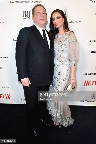 Producer Harvey Weinstein and designer Georgina Chapman attend The Weinstein Company Netflix's 2015 Golden Globes After Party presented by FIJI Water...