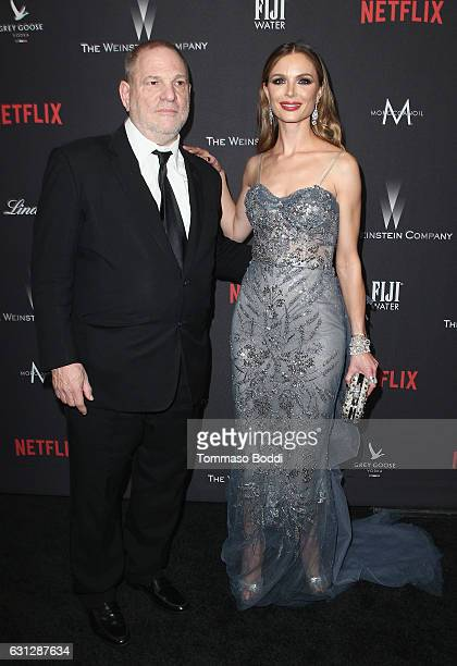 Producer Harvey Weinstein and fashion designer Georgina Chapman attend The Weinstein Company and Netflix Golden Globe Party presented with FIJI Water...