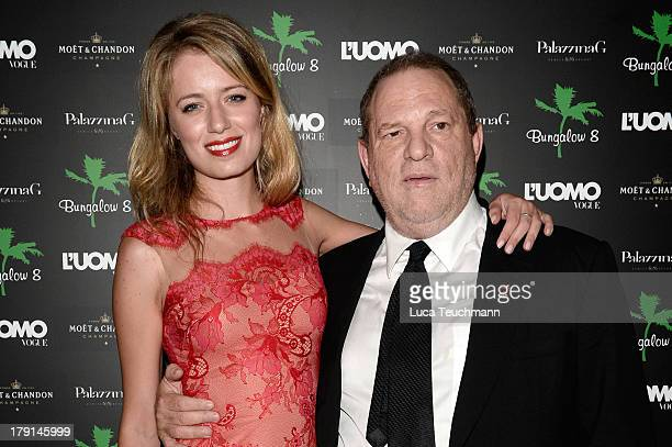 Producer Harvey Weinstein and Federica Amati attend Bungalow 8 James Franco Venice Film Festival Premiere Party for Child of God and Palo Alto during...