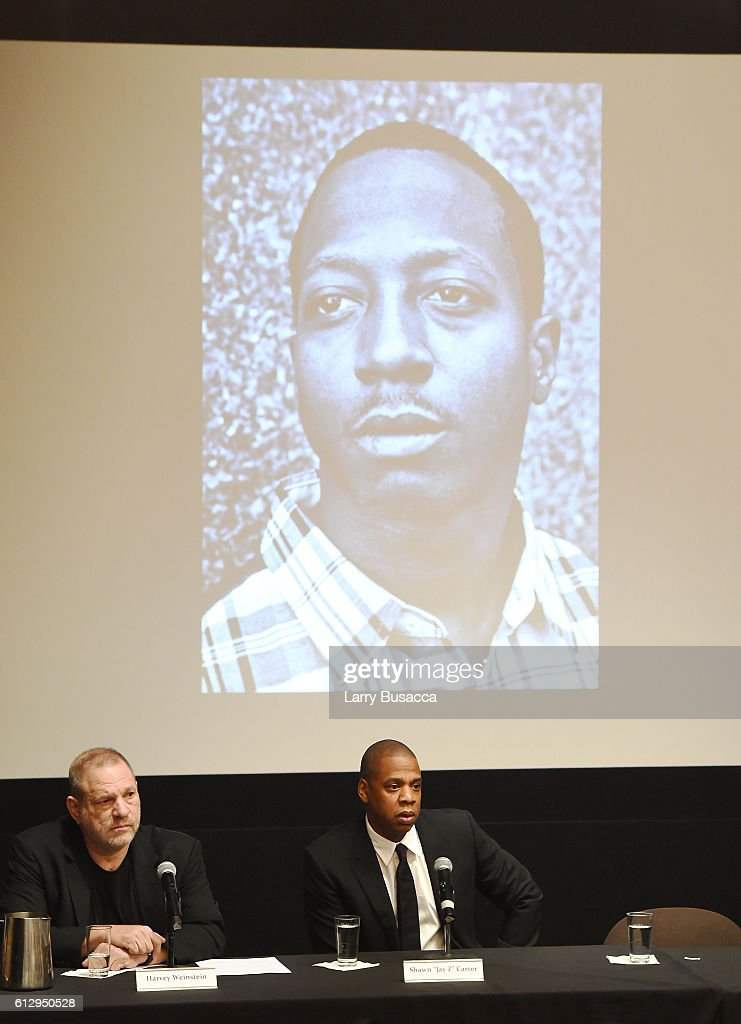 Producer Harvey Weinstein (L) and rapper Shawn 'JAY Z' Carter participate in a panel discussion during Shawn 'JAY Z' Carter, the Weinstein Company and Spike TV's announcement of a documentary event series on Kalief Browder on October 6, 2016 in New York City.