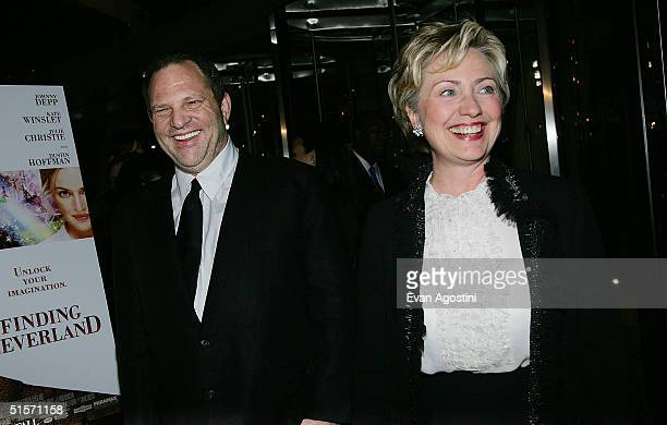 Producer Harvey Weinstein and Senator Hillary Clinton attend the Finding Neverland premiere at the Brooklyn Museum October 25 2004 in New York City