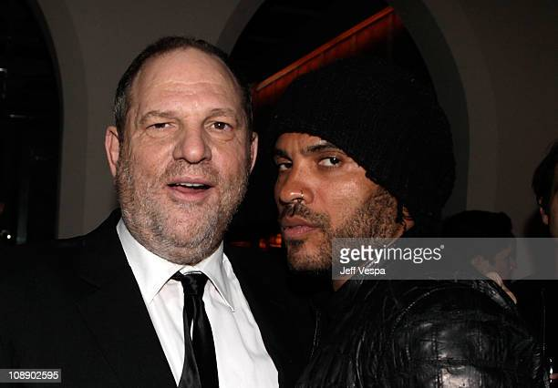 Producer Harvey Weinstein and singer Lenny Kravitz attend the Audi celebrates The King's Speech awards season party held at Chateau Marmont on...
