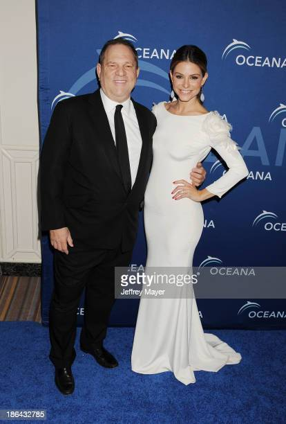 Producer Harvey Weinstein and TV personality Maria Menounos arrive at the Oceana Partners Award Gala With Former Secretary Of State Hillary Rodham...