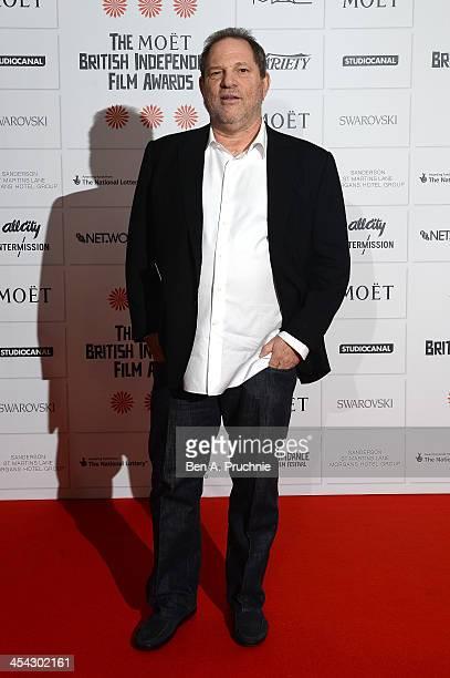Producer Harvey Weinstein arrives on the red carpet for the Moet British Independent Film Awards at Old Billingsgate Market on December 8 2013 in...