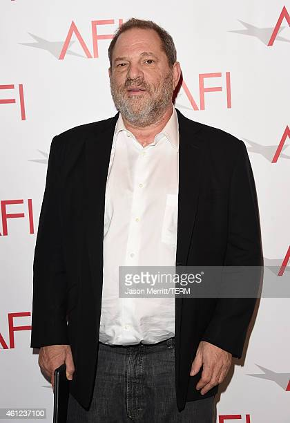 Producer Harvey Weinstein attends the 15th Annual AFI Awards at Four Seasons Hotel Los Angeles at Beverly Hills on January 9 2015 in Beverly Hills...