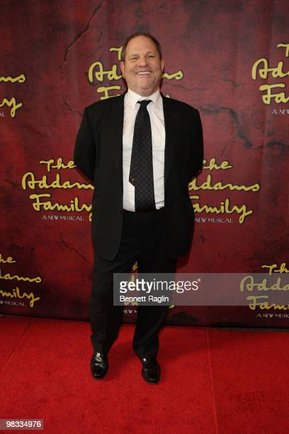 Producer Harvey Weinstein attends the Broadway opening of The Addams Family at the LuntFontanne Theatre on April 8 2010 in New York City
