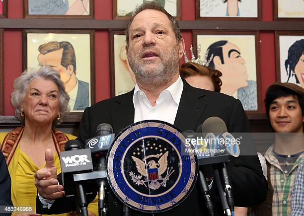 Producer Harvey Weinstein attends US Senator Charles E Schumer announces his campaign to give Broadway and live theater productions a major tax break...