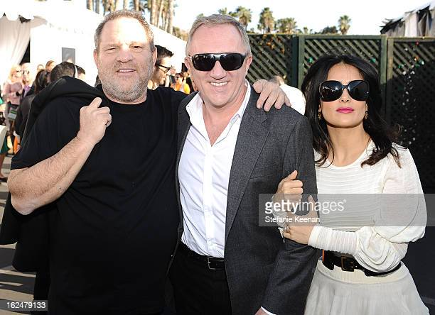 Producer Harvey Weinstein Francois Pinault and actress Salma Hayek pose in the Piaget Lounge during The 2013 Film Independent Spirit Awards on...