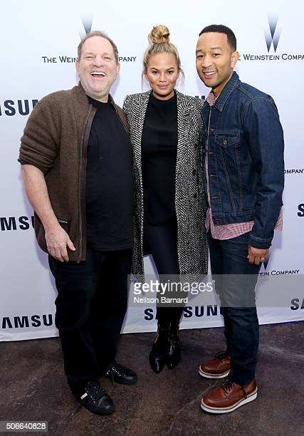Producer Harvey Weinstein model Chrissy Teigen and musician John Legend attend Samsung Studio and Harvey Weinstein Host Annual Weinstein Sundance...