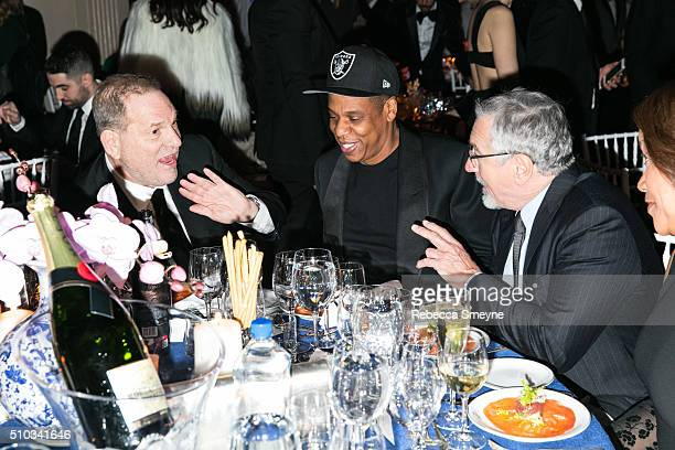 Producer Harvey Weinstein, rapper Jay Z and actor Robert De Niro attend the amFAR New York Gala at Cipriani Wall Street in New York, NY on February...