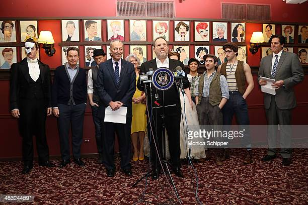 producer Harvey Weinstein US Senator Charles E Schumer Nick Scandalios chairman of the Broadway League and executive vice president of the...