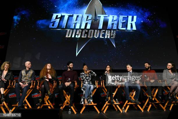 Producer Heather Kadin actors Doug Jones Mary Wiseman Ethan Peck Sonequa MartinGreen Michelle Yeoh Anthony Rapp Shazad Latif and Mary Chieffo speak...
