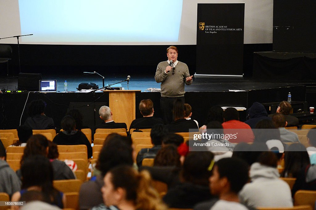 Producer Herb Ankrom (C) speaks at the BAFTA LA Reality TV Master Class led by Rob Bagshaw at George Washington Preparatory High School on March 12, 2013 in Los Angeles, California.