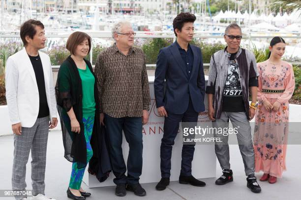Producer Hiroyoshi Koiwai director Takashi Miike producer Jeremy Thomas actor Takuya Kimura and actress Hana Sugisaki attend the 'Blade Of The...