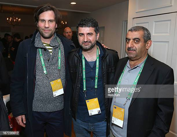 Producer Hisham Zaman producer Abbas Ghazali and guest attend the Producers Reception during the 2013 Tribeca Film Festival April 22 2013 in New York...