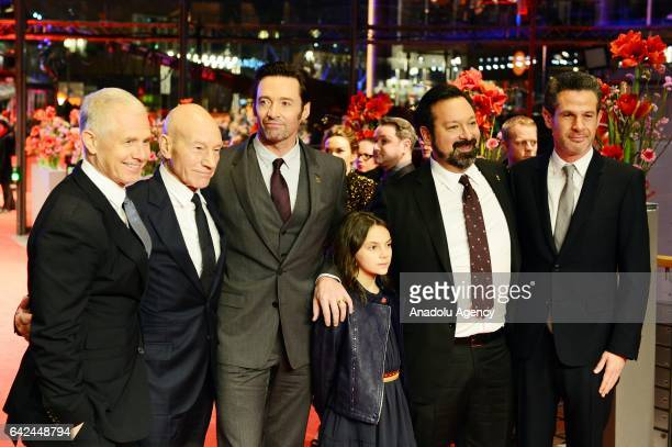 producer Hutch Parker actors Patrick Stewart Hugh Jackman Dafne Keen direktor James Mangold and producer Simon Kinberg attend the red carpet of...