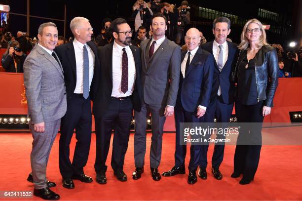 Producer Hutch Parker director James Mangold actors Hugh Jackman Patrick Stewart producer Simon Kinberg and guest attend the 'Logan' premiere during...