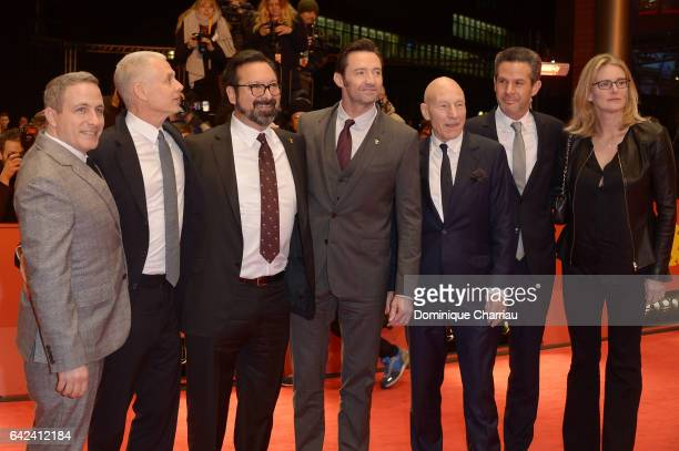 Producer Hutch Parker director James Mangold actors Hugh Jackman Patrick Stewart producer Simon Kinberg and guest attend the 'Logan' premiere during...