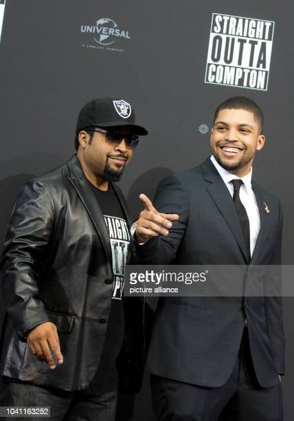 Producer Ice Cube and his actor son O'Shea Jackson Jr. Arrive at the European premiere of the film 'Straight Outta Compton' in Berlin, Germany, 18...