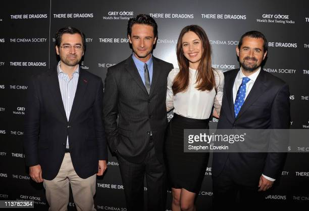 Producer Ignacio GomezSancha actors Rodrigo Santoro Olga Kurylenko and producer Nacho Nunez attend The Cinema Society Grey Goose screening of There...