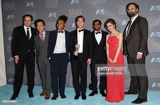 Producer Igor Srubshchik, actors Kelvin Yu, Lena Waithe, writer/producer Alan Yang, actor-writer Aziz Ansari and actors Noel Wells and Eric Wareheim,...