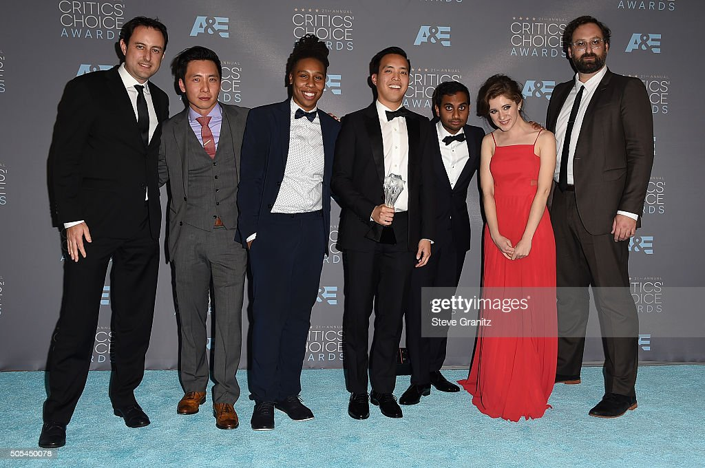 Producer Igor Srubshchik, actors Kelvin Yu, Lena Waithe, writer/producer Alan Yang, actor-writer Aziz Ansari and actors Noel Wells and Eric Wareheim, winners of Best Comedy Series award for 'Master of None', pose in the press room during the 21st Annual Critics' Choice Awards at Barker Hangar on January 17, 2016 in Santa Monica, California.