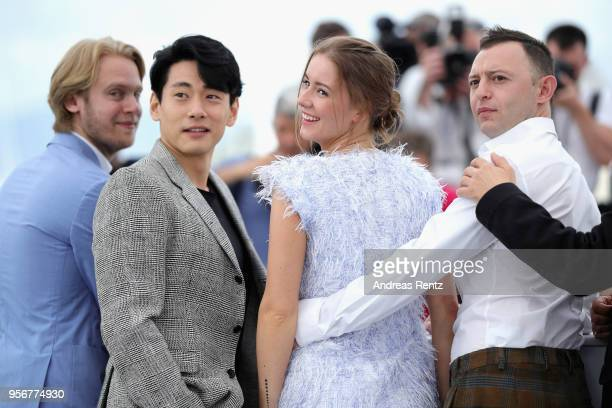Producer Ilya Stewart actor Teo Yoo actress Irina Starshenbaum and actor Roman Zver attend the photocall for Leto during the 71st annual Cannes Film...