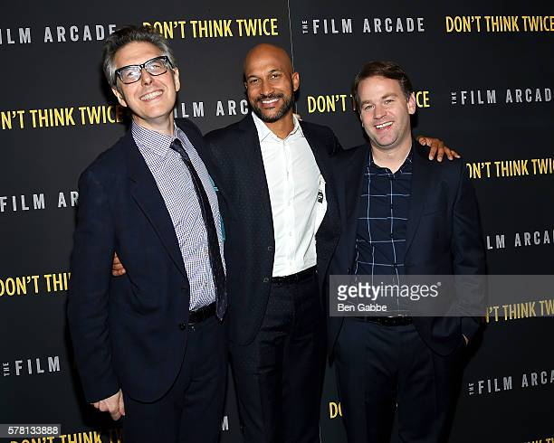 Producer Ira Glass and actors KeeganMichael Key and Mike Birbiglia attend the Don't Think Twice New York Premiere at Sunshine Landmark on July 20...