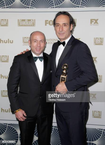 Producer J Miles Dale and composer Alexandre Desplat winner of Best Original Score for 'The Shape of Water' attend FOX FX and Hulu 2018 Golden Globe...