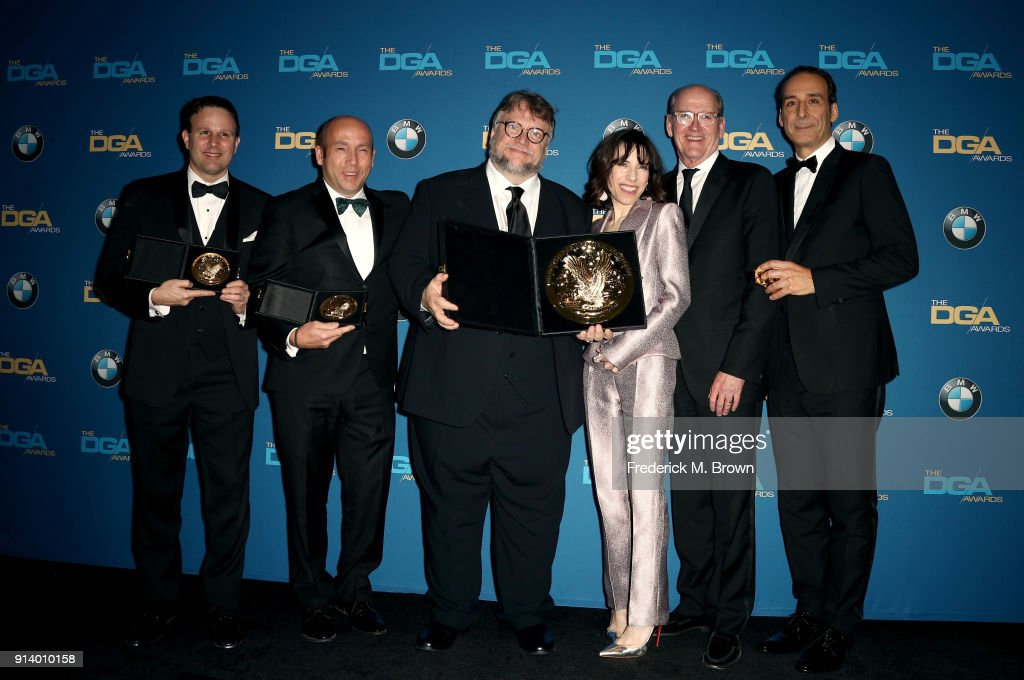 Producer J. Miles Dale, director Guillermo del Toro, winner of the award for Outstanding Directorial Achievement in Feature Film for 'The Shape of Water', actors Sally Hawkins and Richard Jenkins and composer Alexandre Desplat pose in the press room during the 70th Annual Directors Guild Of America Awards at The Beverly Hilton Hotel on February 3, 2018 in Beverly Hills, California.