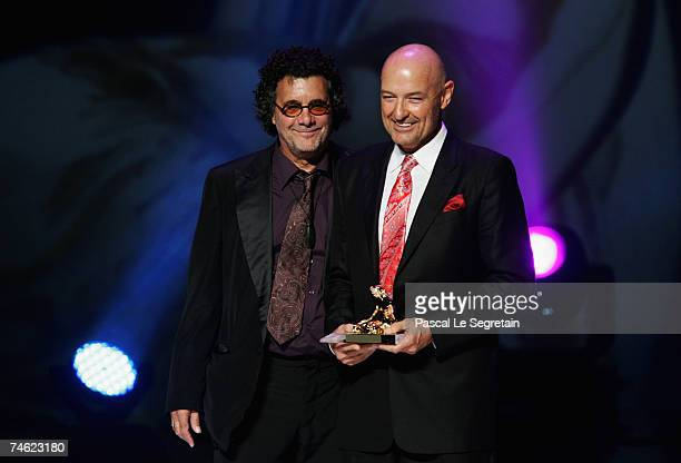 Producer Jack Bender and actor Terry O'Quinn pose with Best International Producer Award for the television serie 'Lost' during the 2007 Monte Carlo...