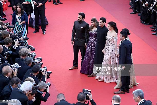 Producer Jackky Bhagnani Deepshika Deshmukh actors Darshan Kumaar Aishwarya Rai Richa Chadha and TSeries head Bhushan Kumar attend the From The Land...
