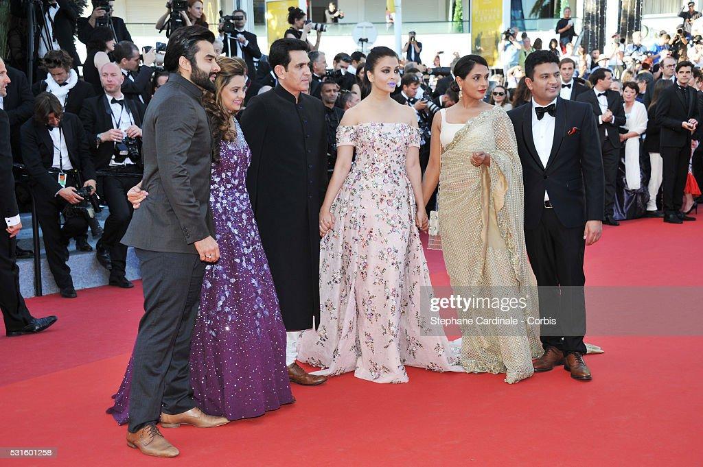 Producer Jackky Bhagnani Deepshika Deshmukh actors Darshan Kumaar Aishwarya Rai Richa Chadha and TSeries head Bhushan Kumar attend the 'From The L