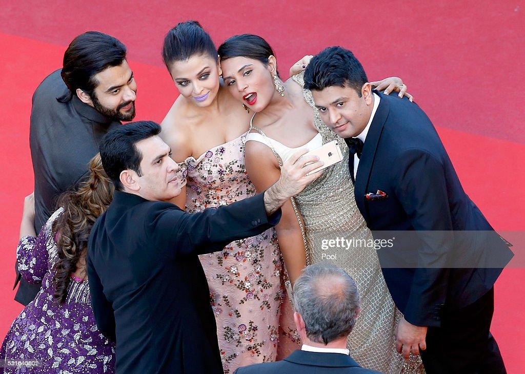 Producer Jackky Bhagnani Deepshika Deshmukh actors Darshan Kumaar Aishwarya Rai Richa Chadha and TSeries head Bhushan Kumar attend the `From The Land.