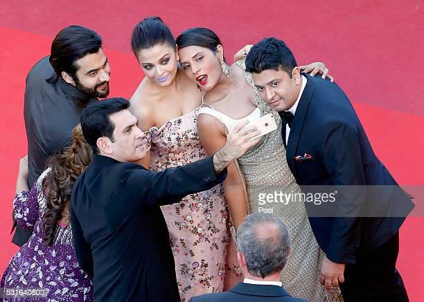 Producer Jackky Bhagnani Deepshika Deshmukh actors Darshan Kumaar Aishwarya Rai Richa Chadha and TSeries head Bhushan Kumar attend the 'From The Land...