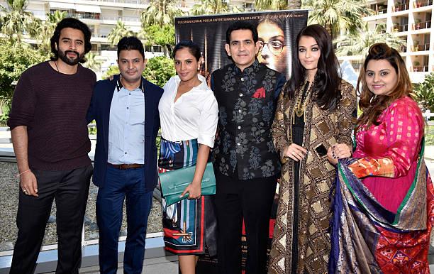 Producer Jackky Bhagnani TSeries head Bhushan Kumar actors Richa Chadha Darshan Kumaar Aishwarya Rai and producer Deepshika Deshmukh attend 'Sarbj